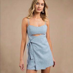 Tobi   blue wrap mini dress